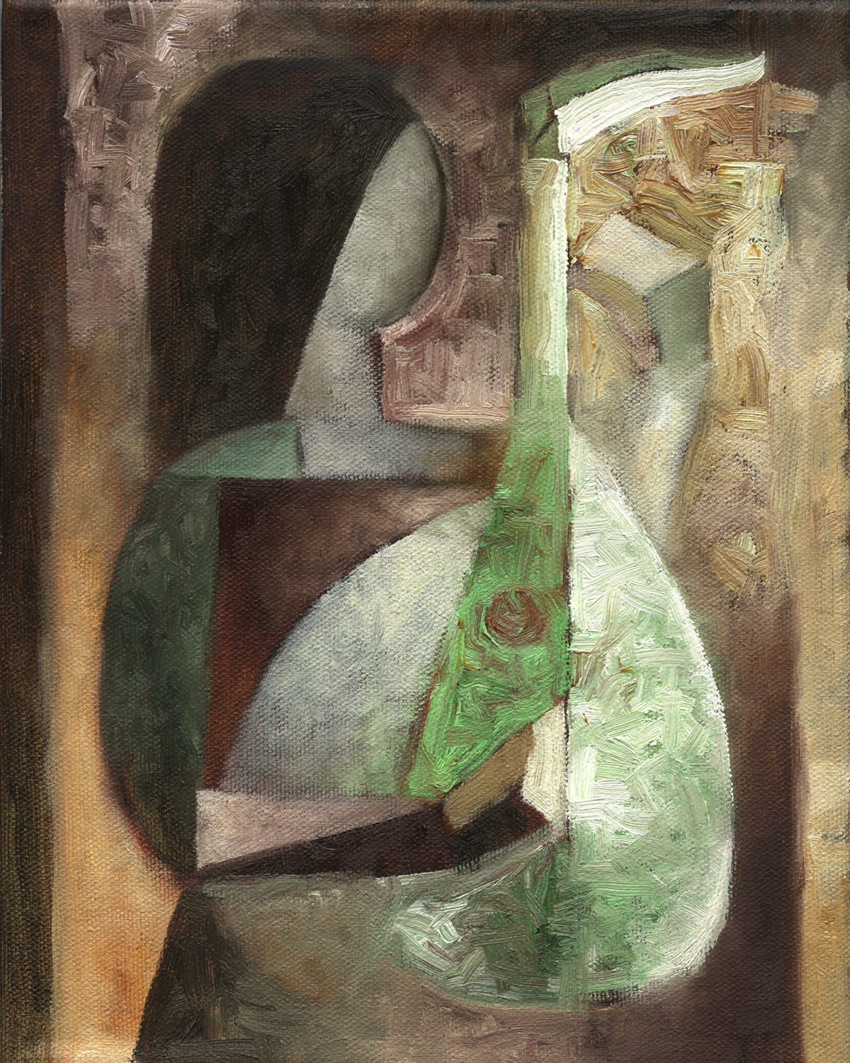 Girl with Mandolin 2002 Oil Painting Sold