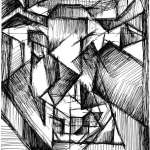 Cubist drawing of a Bulls head by Rick Clement