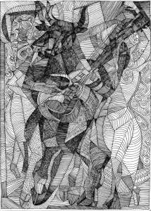 Cubist drawing of Dancing and singing bull man with wild woman dancing and singing by Rick Clement