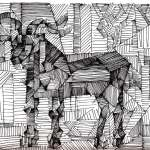 Cubist drawing of a goat by Artist Rick Clement