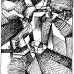 Cubist drawing of a Goat Head by Ric Clement