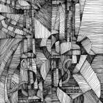 Cubist drawing of a guitar and mandolin by Rick Clement