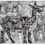 Cubist drawing ofLlama of Machu Picchu by Rick Clement
