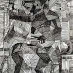 Cubist drawing of wolf playing drums by Rick Clement