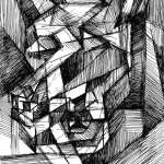 Cubist drawing of a Wolfs head by Rick Clement